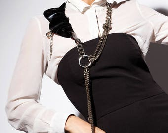 Long Chain Y Necklace w. Patent Leather Ruffle - Gothic Chic - Glam Punk Chain -Fashionista Body Necklace - FEROSH