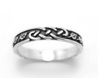 Silver Wedding Band, Silver Wedding Ring With Leaves, Wedding Band, Infinity Wedding Ring, Leaf Wedding Band, Celtic ring, Celtic Band