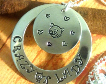 Crazy Cat Lady Necklace,Cat Lover Necklace,Hand Stamped Necklace,Cat Lover Jewelry,Cat Lover Pendant,Cat Necklace,Cat Jewelry,Cat Lover Gift