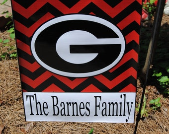 Personalized Monogrammed Garden Flag UGA go Dawgs Ga Bulldogs  Great for Tailgate