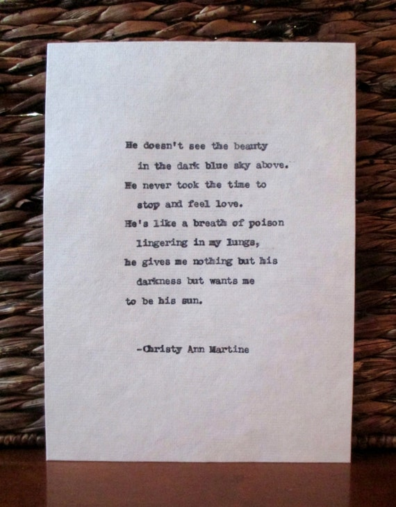 Dark Art - Domestic Violence - Emotional Abuse - Typewriter Poem