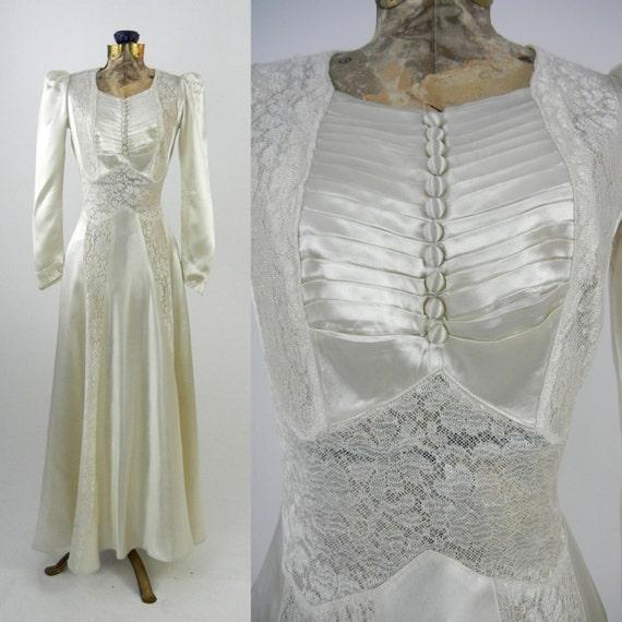Vintage Wedding Dress 1930s Satin Wedding Gown Vintage Ivory