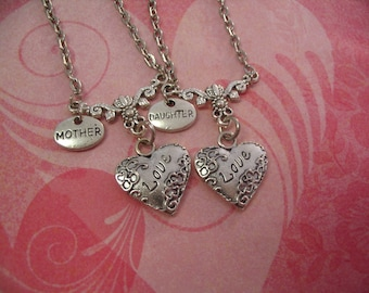 Mother Daughter Love Heart Necklace Set for Sisters Jewelry Gift