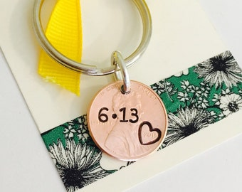 Penny KeyChain, Custom Penny, Special Date, Anniversary, Personalized Keychain, Our Lucky Day, Personalized Penny, Gift for Husband