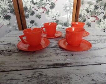 Hazel Atlas Children's tea set- four mini cup and saucers, HTF Radioactive Red