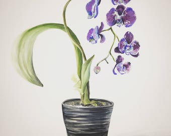 Turning a New Leaf - Purple Heart Orchid Original