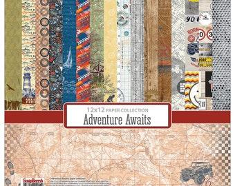 Scrapberry's, Adventure Awaits 12 x 12 Paper Pack, Scrapbooking, Card Making,  Mixed Media, Mini Album