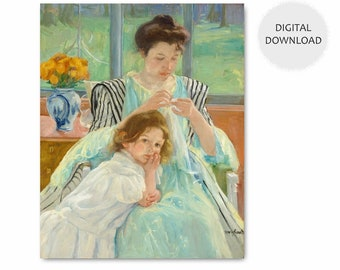 "Mary Cassatt Print, Download Mothers Day (Seamstress Gift, Digital Wall Art Office, Girls Room, Green Home Decor) 1900 ""Young Mother Sewing"""