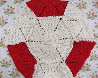 Vintage Crocheted Red and White Hot Pad