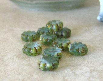 Pale Blue Premium Czech Glass Picasso Flower Beads, 9mm...10pcs