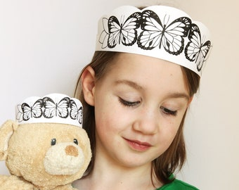 Butterflies Crown Printable - butterfly headband kids craft - kids dress up craft - teddy bear picnic - black white printable