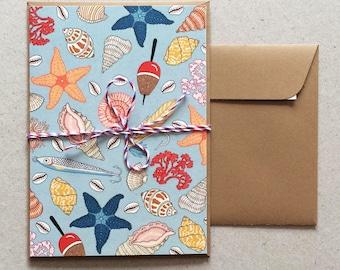 Postcard , Sea Treasures Pattern (double-folded)