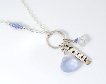 Faith necklace | Recovery Gift | Herkimer Diamond necklace | Tanzanite necklace | Faith Hope Love necklace | AA Gift | AA Jewelry