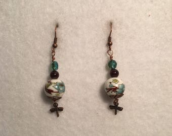 Bronze and green floral dangle earring