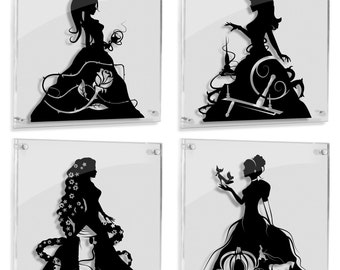Belle Princess Aurora Sleeping Beauty Princess Rapunzel Princess Cinderella Disney princesses beauty beast paper cut art FRAMED