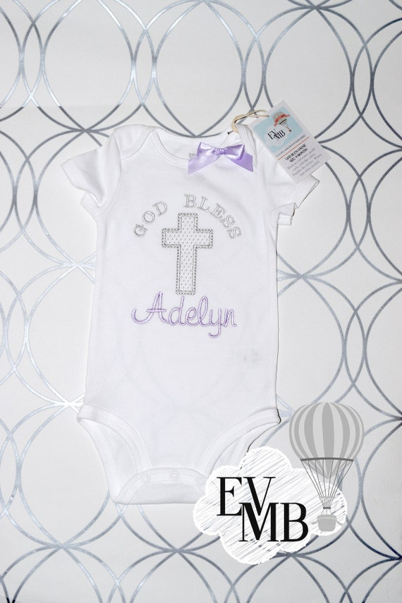 "Baby Girl ""God Bless"" Christening/Baptism/Easter Onesie in Purple"