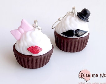 Food Jewelry Glam Style Cupcakes - Hook Earrings, Moustache Cupcakes, Mini Food, Polymer Clay Sweets, Miniature Food Jewelry, Cute Earrings