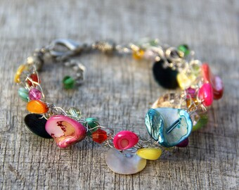 Colorful Chunky wiring shell Bracelet Bridesmaids gifts Free US Shipping handmade Anni Designs
