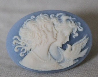 12pcs of resin vintage cameo-30x40mm-rc0339 -ivory on blue