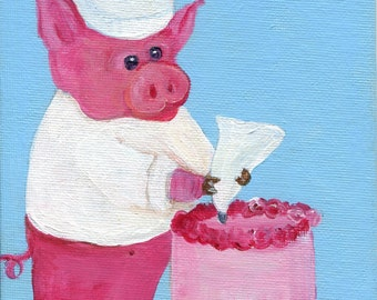 Chef Pig painting, 5 x 7  culinary painting, canvas panel,  animal painting, pig decor, acrylic painting canvas art, Farmhouse decor