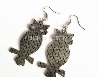 Owl Earrings, Silver Owl Earrings (Medium)