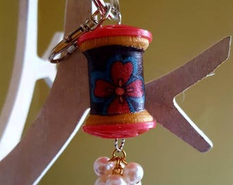 Wooden Spool Keychain /Purse Fob/Christmas Ornament/Vintage Buttons/Pearl Charm