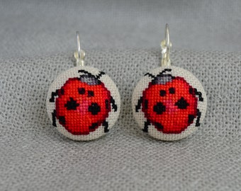 Embroidered earrings with ladybug, best gift for women, round red earrings with cross stitch