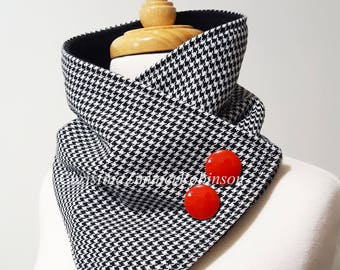 Black and White Houndstooth Snap Neck Warmer Scarf, Fleece Lined, Two Red Buttons, Scarves, Neckwarmer, Snap Scarf, Collar, Neck Wrap
