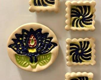 Lotus Flower and Swirls Ceramic Super Magnets