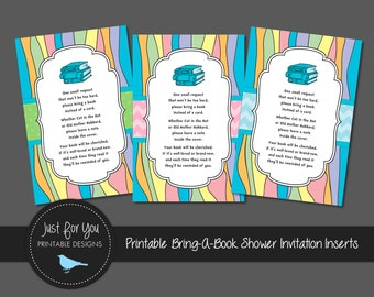Printable Pastel Rainbow - Please Bring a Book Instead of a Card Baby Shower Invitation Inserts - YOU PRINT (Digital File)
