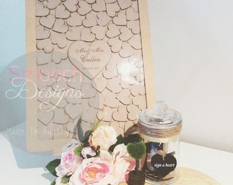 MDF Drop Box Frame with hearts - Alternative Wedding / Engagement / Birthday Guest Book - Signature - Sign a Heart