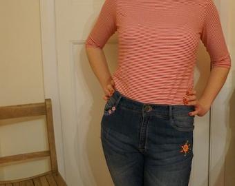 Women's red stripe breton tee