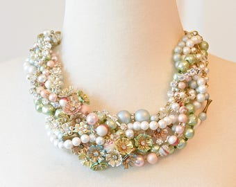 Colorful Pastel Flower Wedding Necklace Statement Necklace Vintage Pearl and Rhinestone Necklace Wedding Jewelry Bridal Necklace