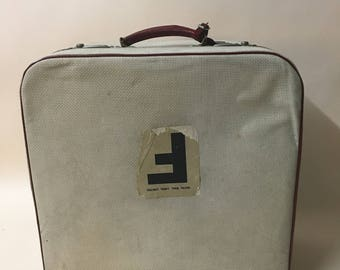 Cream and red vintage suitcase- vintage luggage- photography prop - cream case