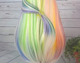 "Custom 10-11"" Doll Wig Fits Most 18"" Dolls Blonde ""Follow The Rainbow"" - Heat Safe"
