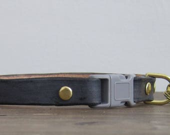 Grey Leather Cat Collar - Custom Breakaway Safety Leather Cat Collar - Brass