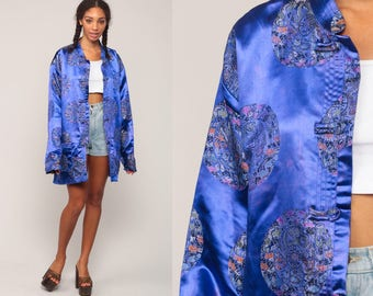 Chinese Jacket Asian Satin Blue EMBROIDERED FLORAL 90s Silky Pajama House Jacket Vintage Bohemian Grunge Extra Large xl