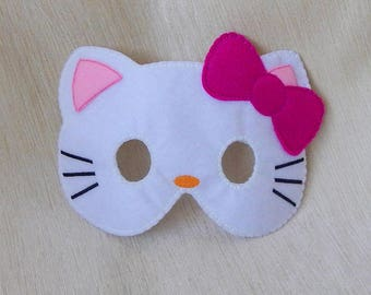 Felt Hello Kitty Mask. Felt cat mask. Hello Kitty mask. Felt mask. Halloween mask. Party mask.