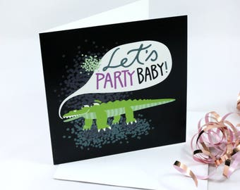 Greeting card, happy crocodile, party animal, folded card with envelope