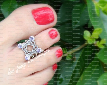 Silver Toe Ring, Silver Ring, Decorative Metal Bead, Purple Glass Rhinestones, Toe Ring, Ring, Stretch Bead Toe Ring