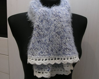 Fluffy handmade knitted scarf