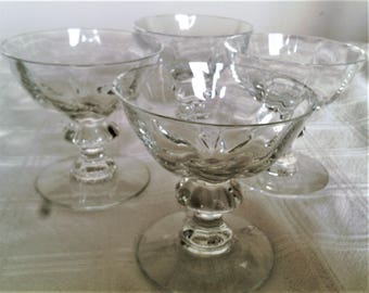 Four Vintage Clear Glass Crystal Coupe or Champagne Glasses With Panels
