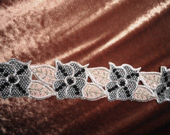 COUTURE LACE EMBROIDERED BEADS AND SILVER