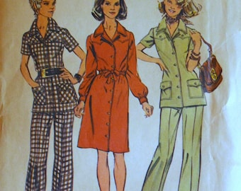 Uncut 1970s Simplicity Vintage Sewing Pattern 5735, Size 16.5; Misses' Dress or Tunic and Pants