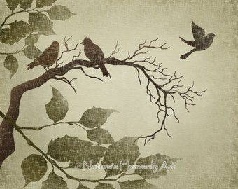 Birds On Tree Branch Wall Art 8 x 10 Print, Earthy Brown Neutral Colors, Rustic Green Nature Print (194)