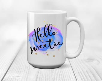 Hello Sweetie coffee mug - Whovian, the Doctor, River Song, sci-fi, tea cup, gift