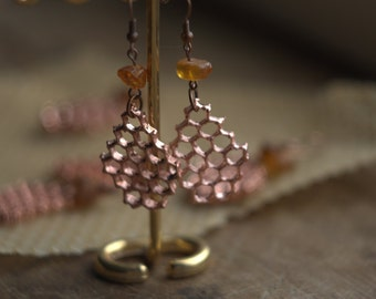 Honeycomb earrings, copper electroformed, electroplated honey comb, amber beads, electroforming, bee lover, hexagon, amber bead,