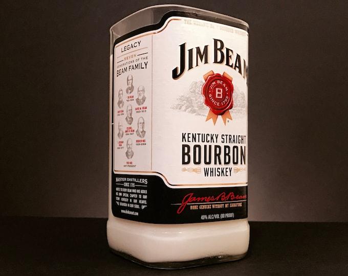 Recycled Jim Beam Bourbon Whiskey Bottle Candle
