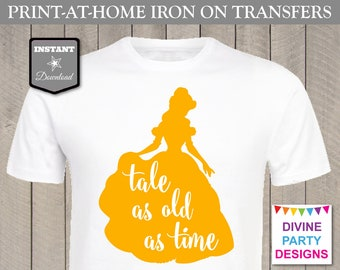 INSTANT DOWNLOAD Print at Home Gold Tale as Old as Time Printable Iron On Transfer / DIY / T-shirt / Shirt / Item #3116