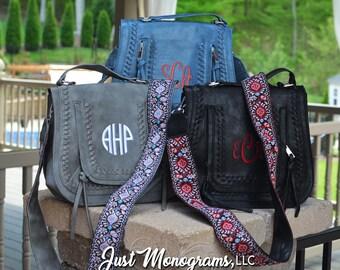 Monogram Guitar Strap Purse, Guitar Strap Crossbody Handbag, Monogram Crossbody Saddle Purse with Side Tassels , Crossbody Purse